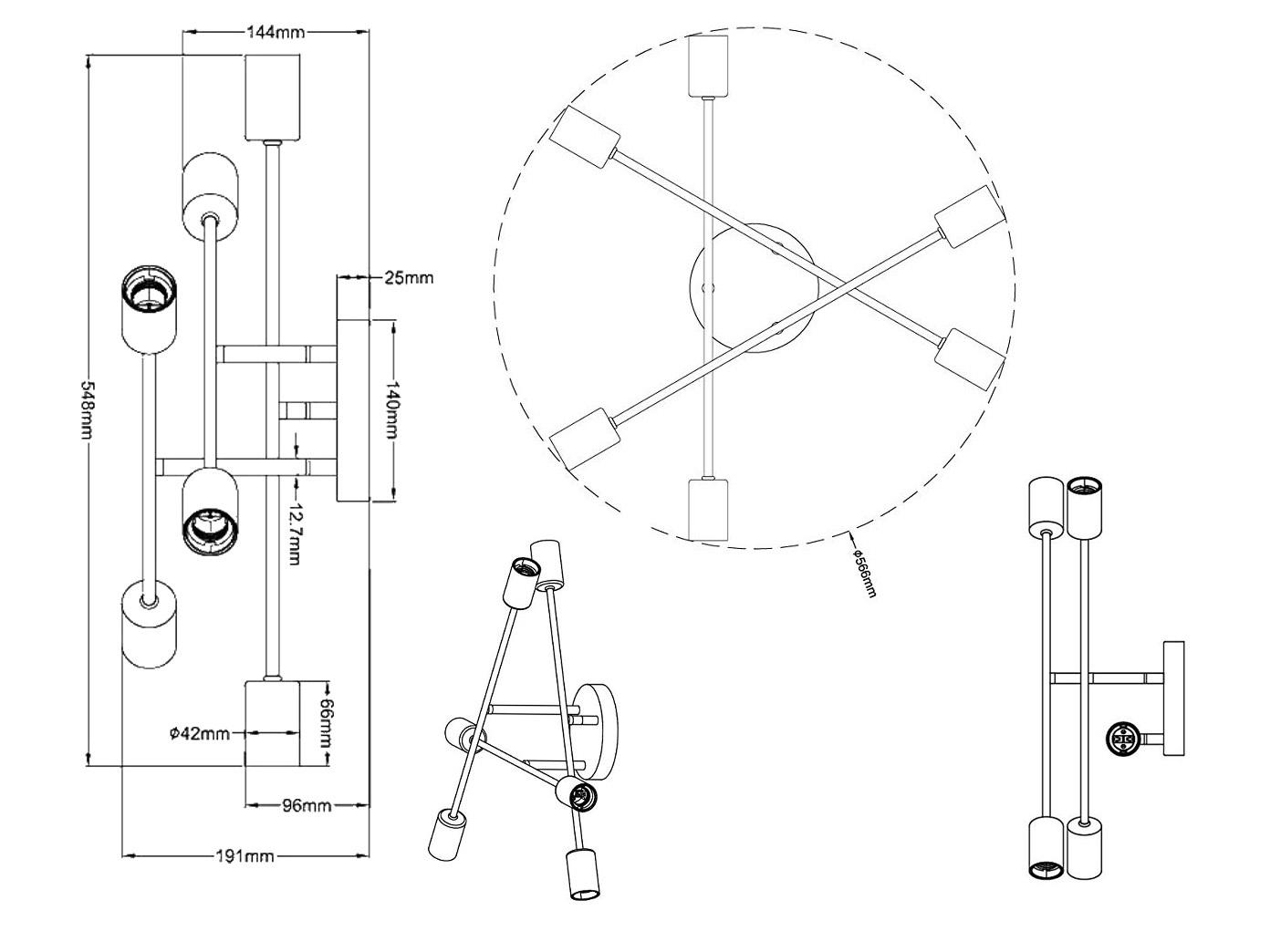 Ø 56cm Deckenleuchte mit schwenkbaren Armen in schwarz matt//bronze 6fl E27