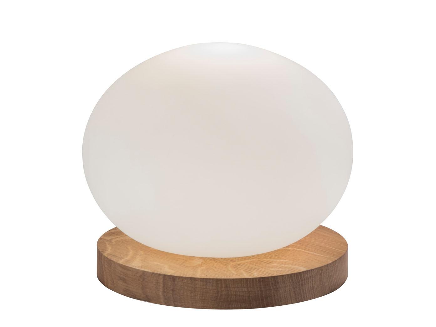 Wohnzimmerlampe LED Tischleuchte oval mit Glaskugel weiß 23cm Design Holz Eiche