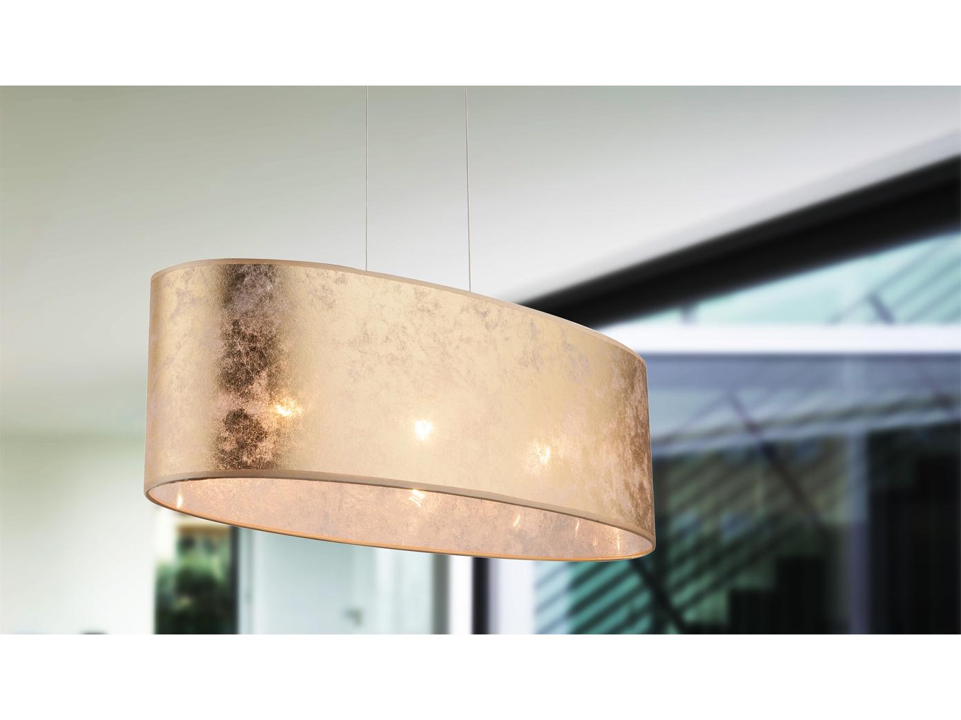 Globo Hängelampe Amy Schirm Textil Gold 65x25cm Pendelleuchte Lampe Esstisch