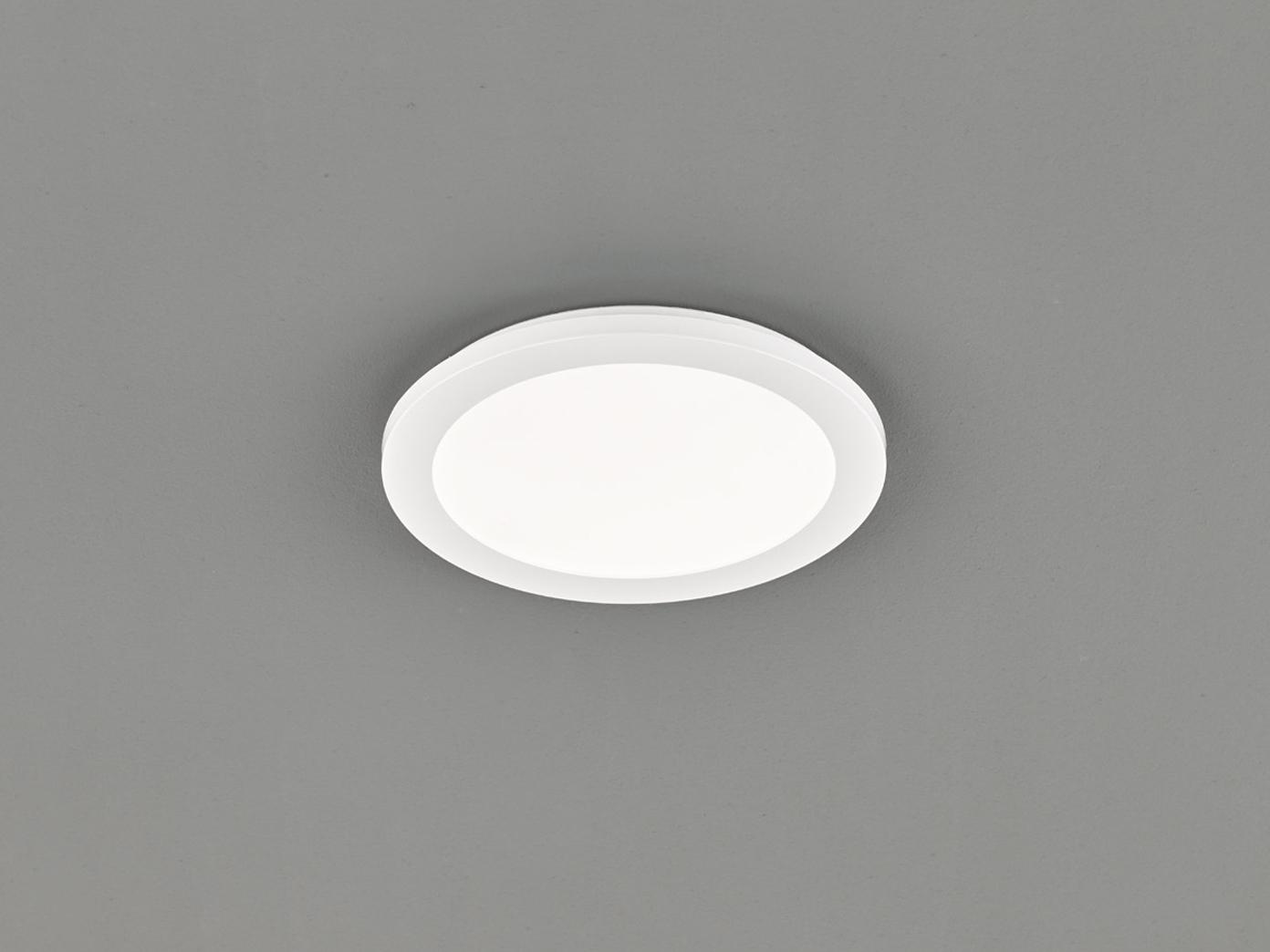 LED Deckenleuchte CAMILLUS flache Badezimmerlampe Rund Ø20cm in Weiß IP20