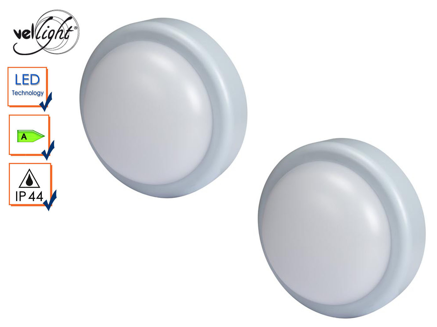 2er Set runde LED Außenwandleuchten grau, Außenbeleuchtung Haus Außenlampen