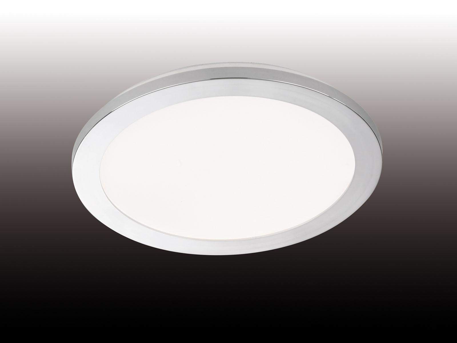 Dimmbare LED Deckenleuchte Badezimmerlampe Ø 20cm, Chrom Acrylglas weiß,  IP20