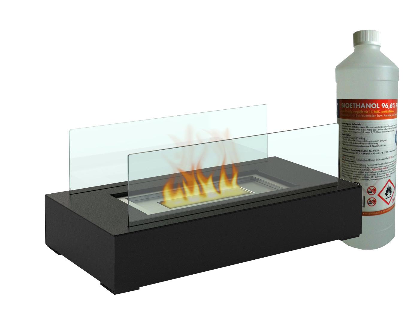 Sehr Tischkamin mit 1Liter Bio Ethanol, Tischfeuer Glaskamin Luxus LU12