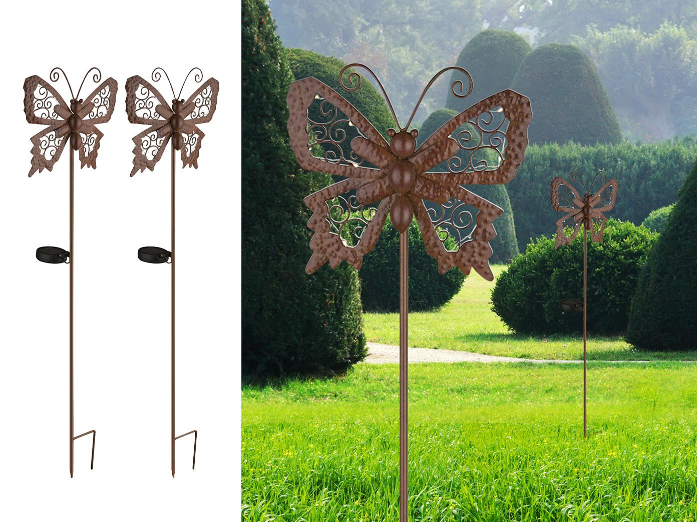 2x Led Erdspieß Solarfiguren Schmetterlinge Für Den Garten Bronze
