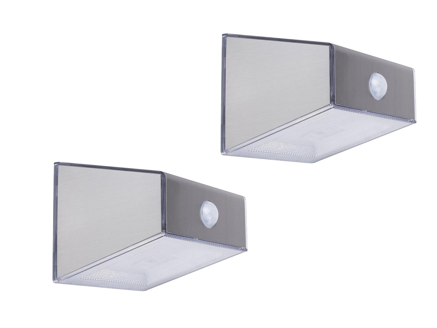 Super 2 Stk LED Solar Außenleuchte mit Bewegungsmelder Edelstahl eckig BH71