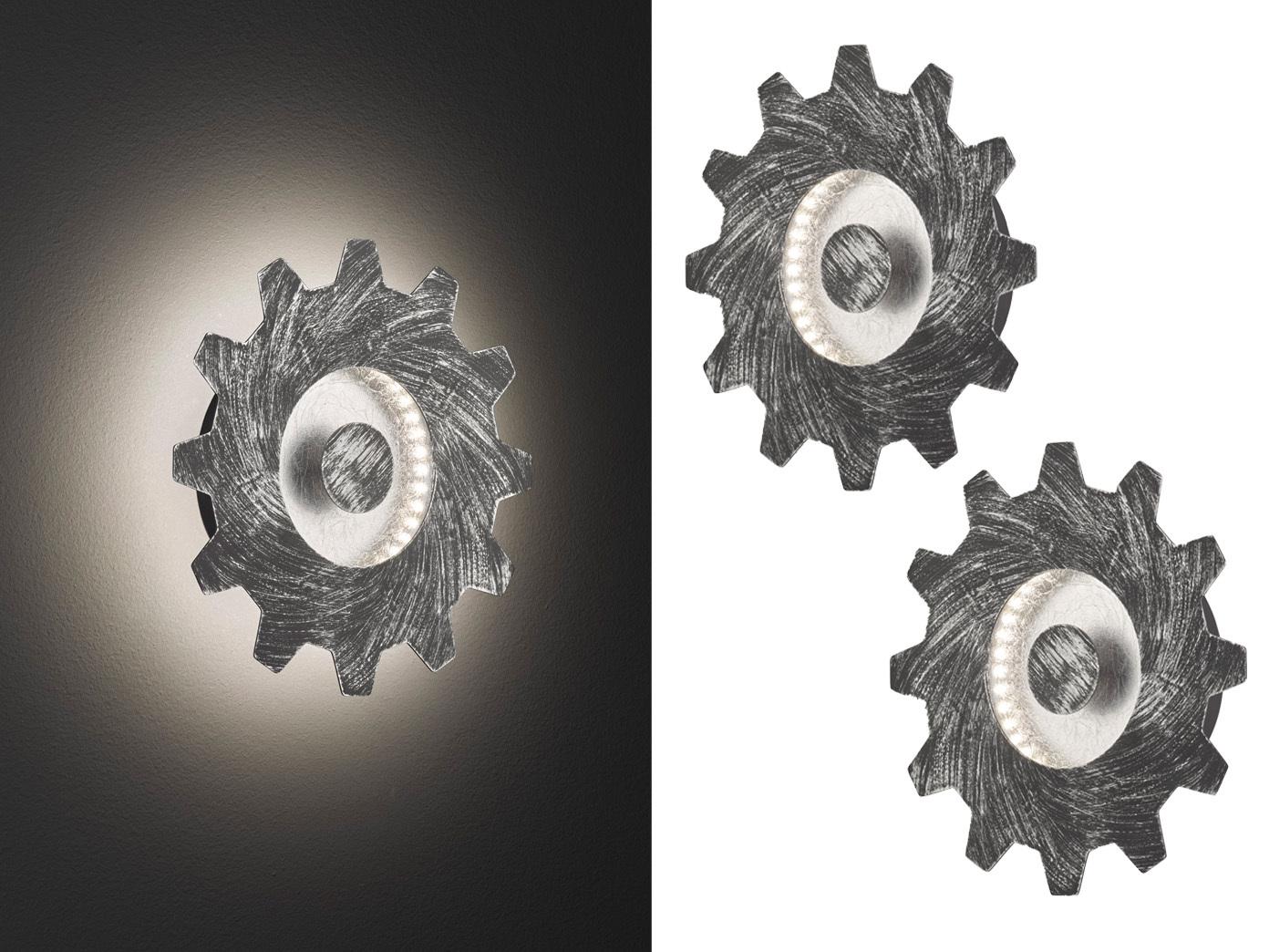 led wandlampe im industrie look silber 2er set vintage. Black Bedroom Furniture Sets. Home Design Ideas