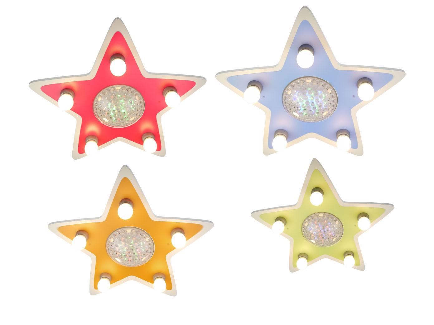 Kinder Deckenleuchte Stern Lampe Kinderzimmer 4 Farben zaubern Lichteffekte  LED