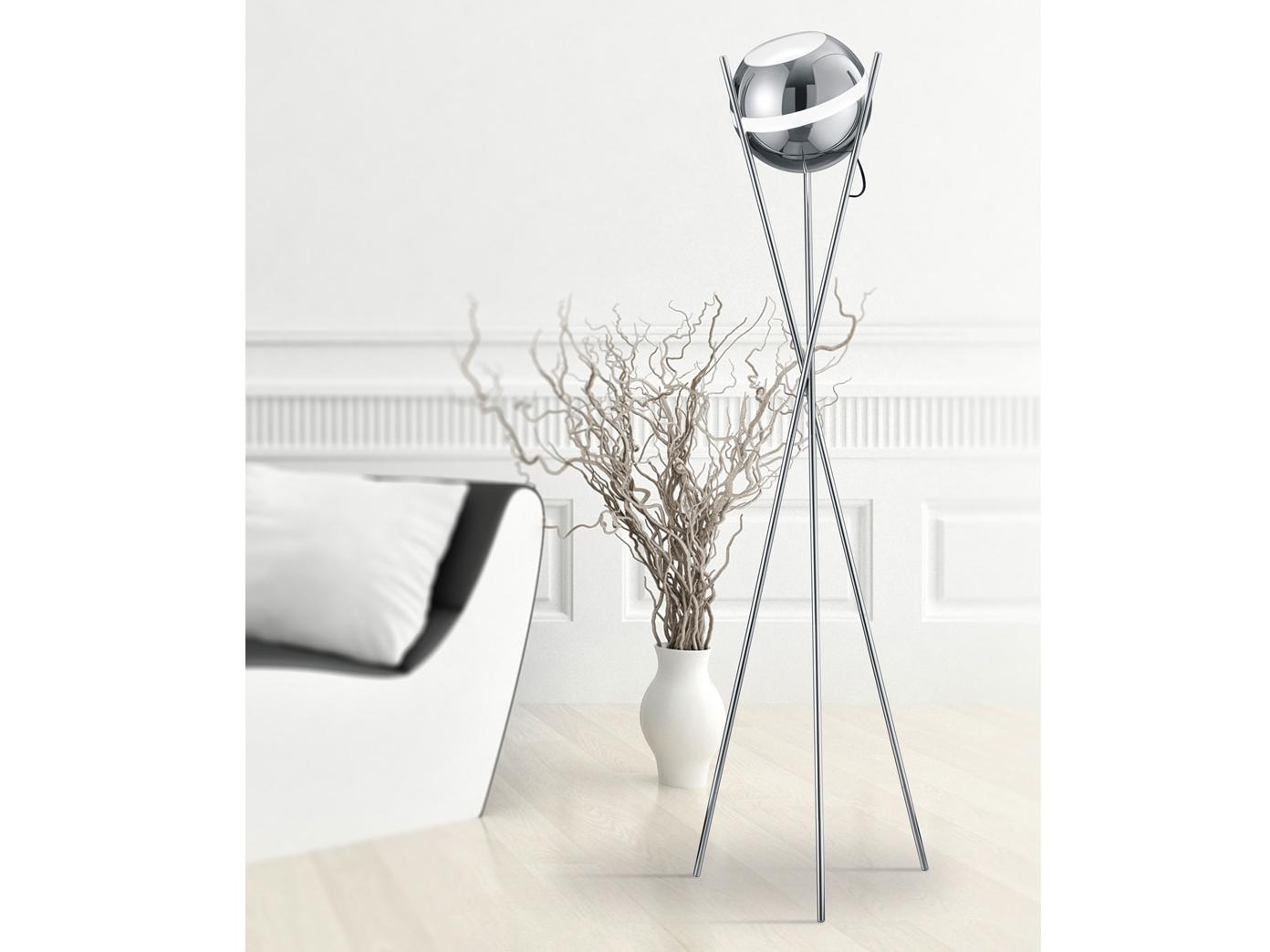led stehleuchte kugel lampenschirm chorm poliert 30cm. Black Bedroom Furniture Sets. Home Design Ideas