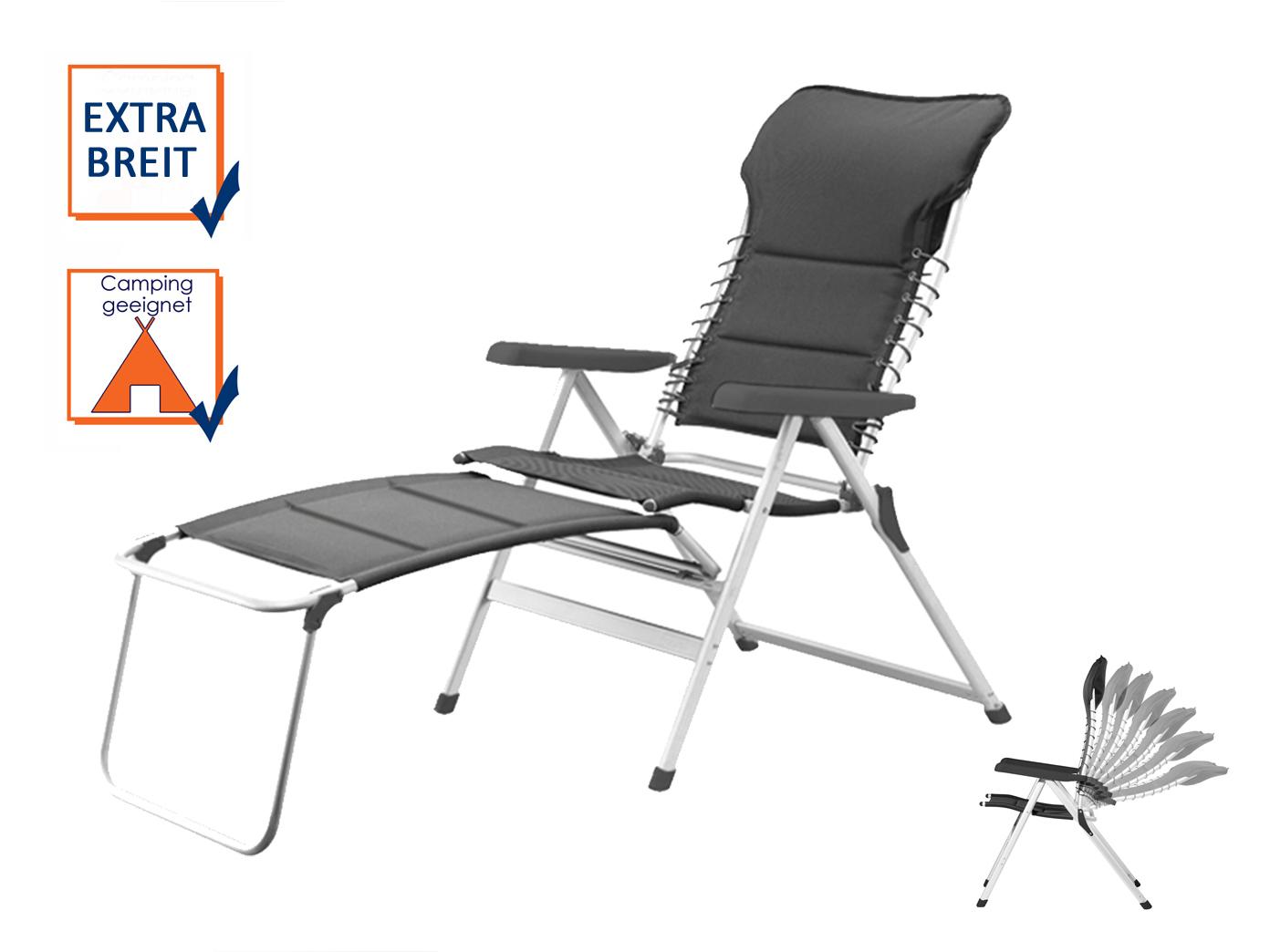 xxl alu campingstuhl gepolstert leicht klappbar mit fu ablage fu teil b derliege kaufen bei. Black Bedroom Furniture Sets. Home Design Ideas