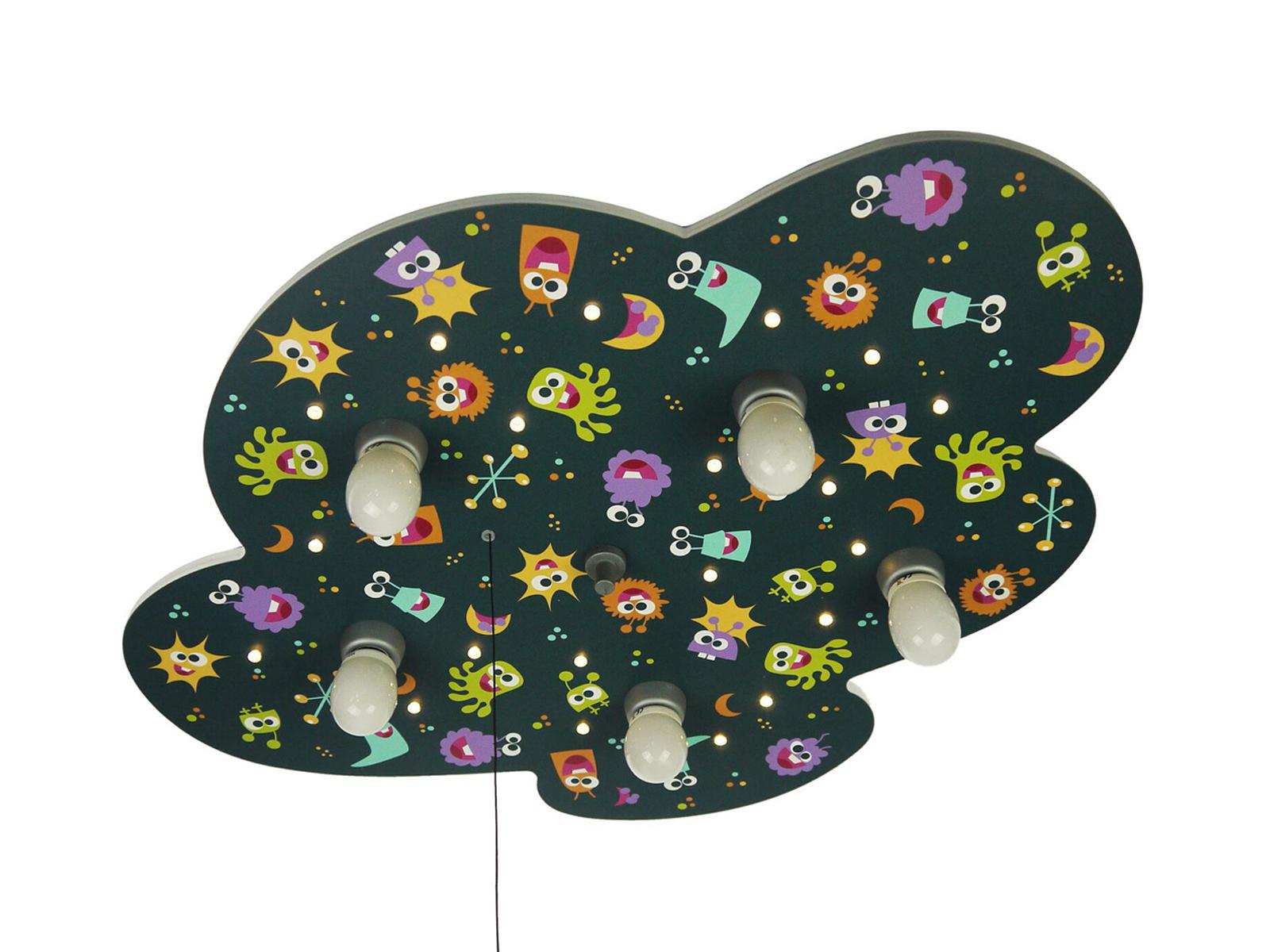 Deckenlampe kinderzimmer motiv bunte aliens zugschalter for Kinderzimmer deckenlampe