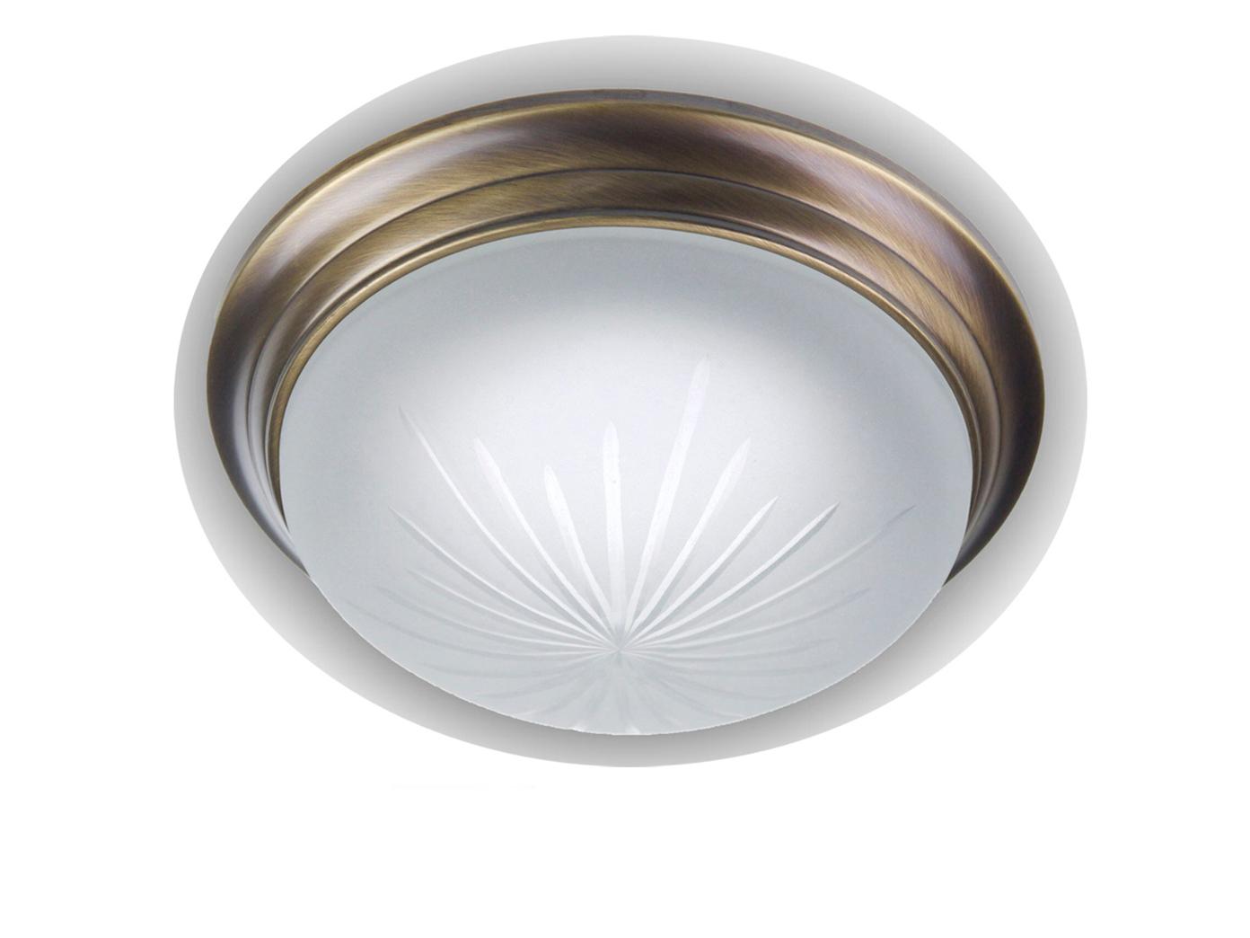 Decken Leuchte rund Ø 30cm Schliffglas satiniert Altmessing gewölbt Wandlampe