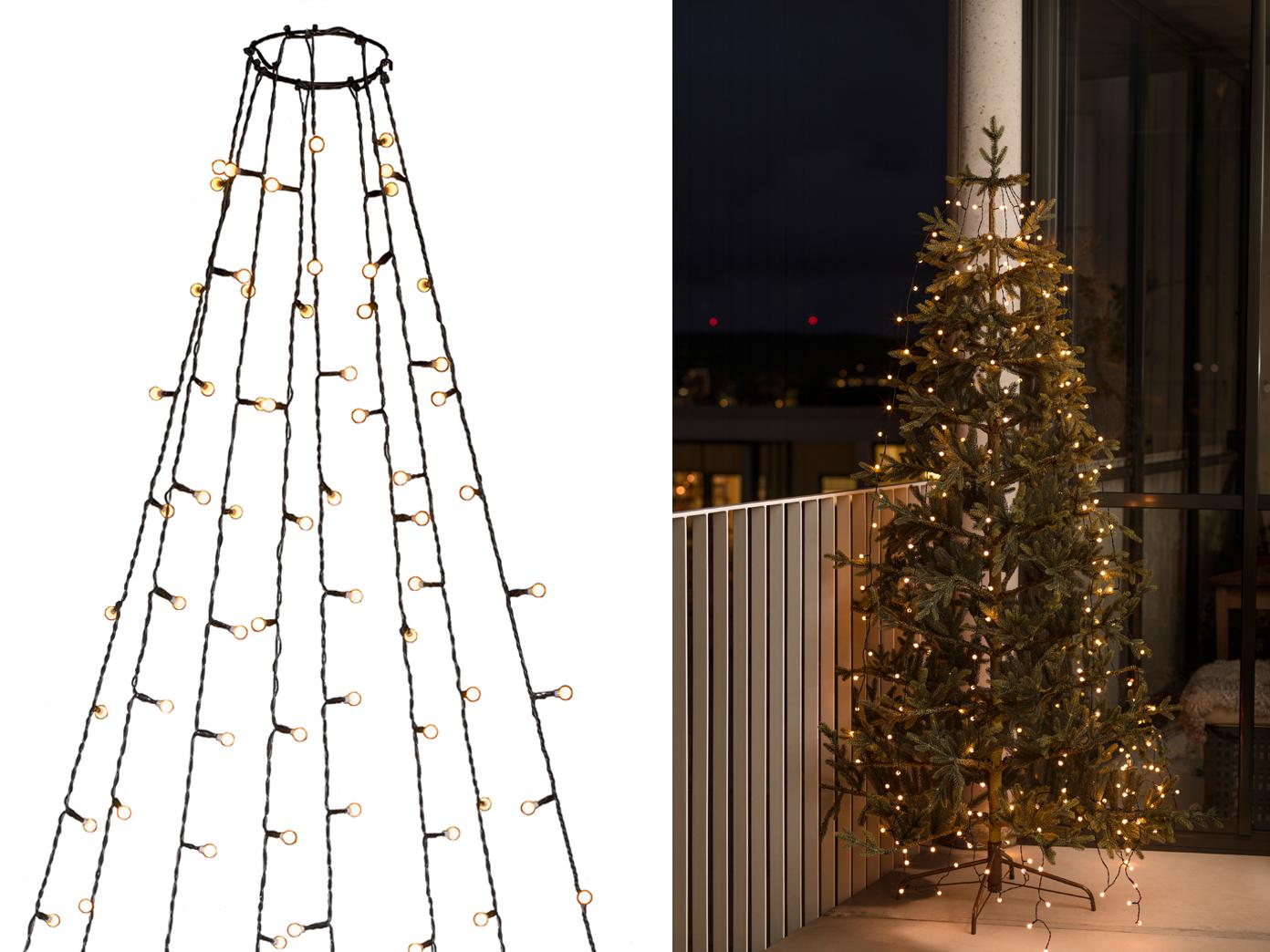 Lichterkette Weihnachtsbaum Außen.Lichterkette Für Außen 240 Bernsteinfarbene Led S Weihnachtsbaum Beleuchtung