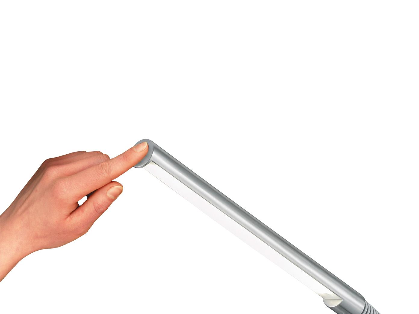 einfache LED Stehlampe Silber matt mit Flexgelenk Ein//Aus per TOUCH Stehleuchte