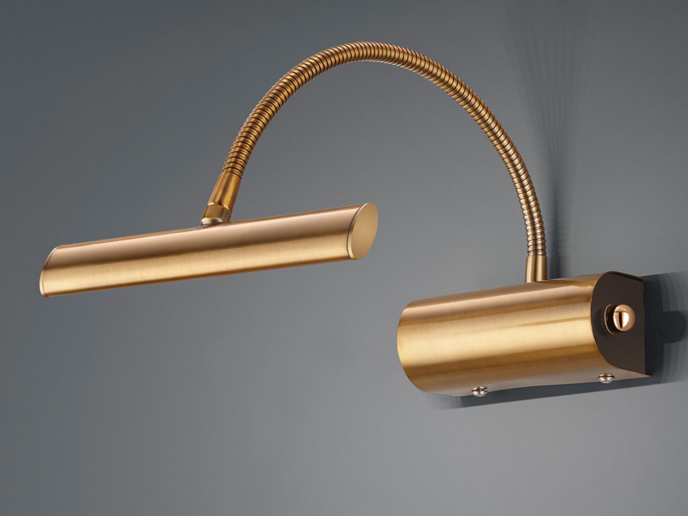 Dimmbare Designer LED Bilderleuchte mit Flexarm in Nickel matt coole Wandleuchte