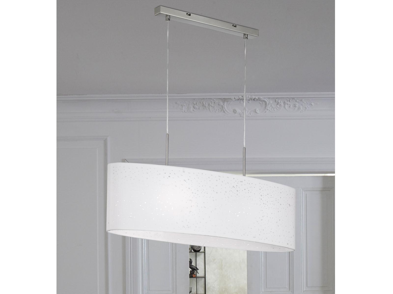 Honsel Pendelleuchte THOR E27 Pendel Esstischlampe Stoffschirm oval grau Dekor