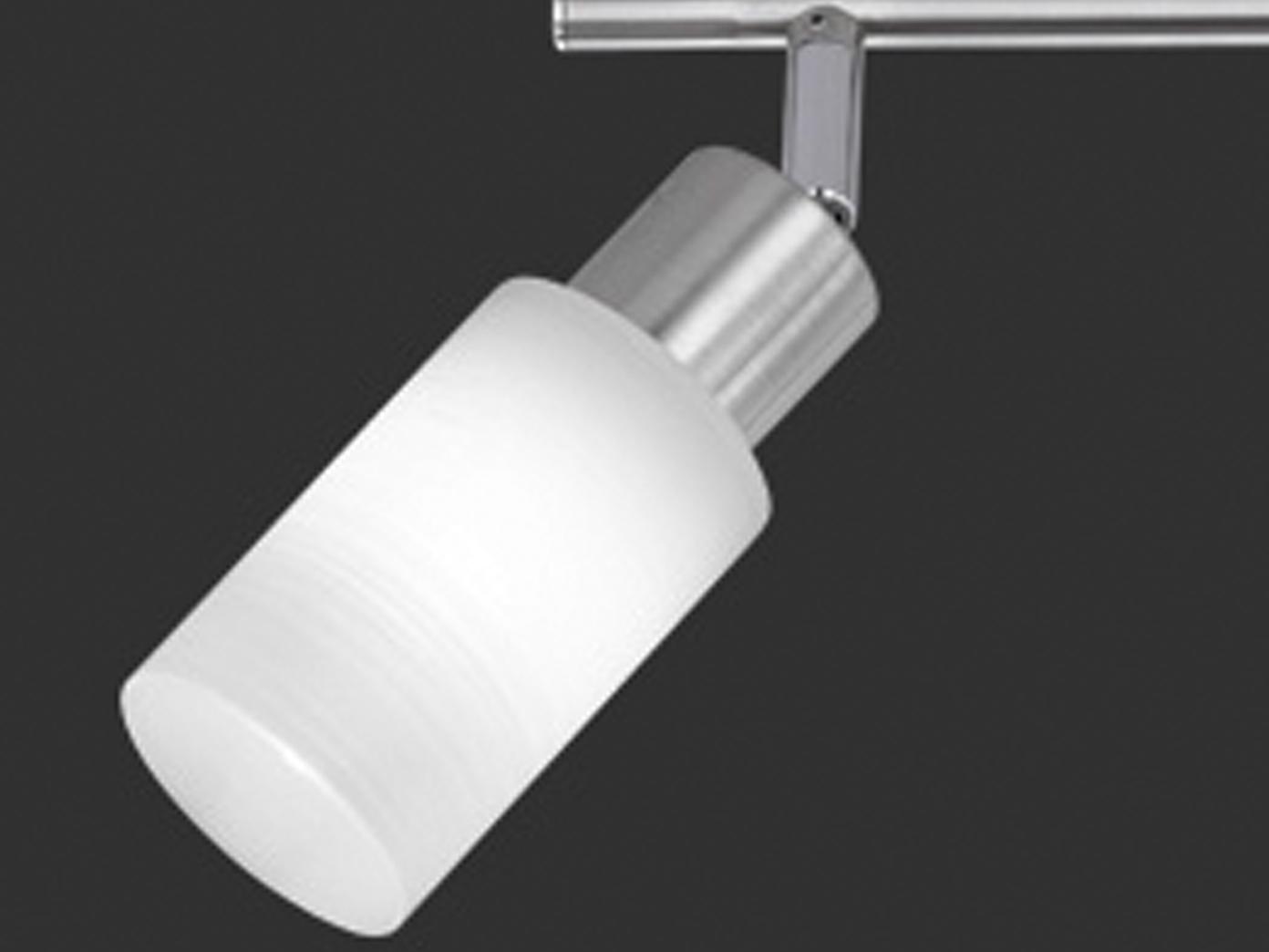 LED-Leuchtmittel Deckenschiene Trio-Leuchten 6-fl Nickel // Glas