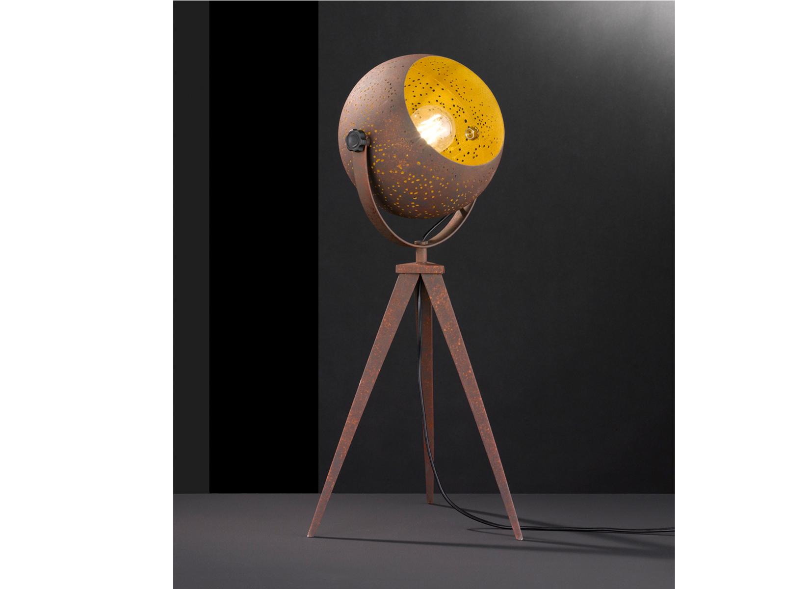 Retro Tischlampe Anitk braun gold Reflektor schwenkbar ...