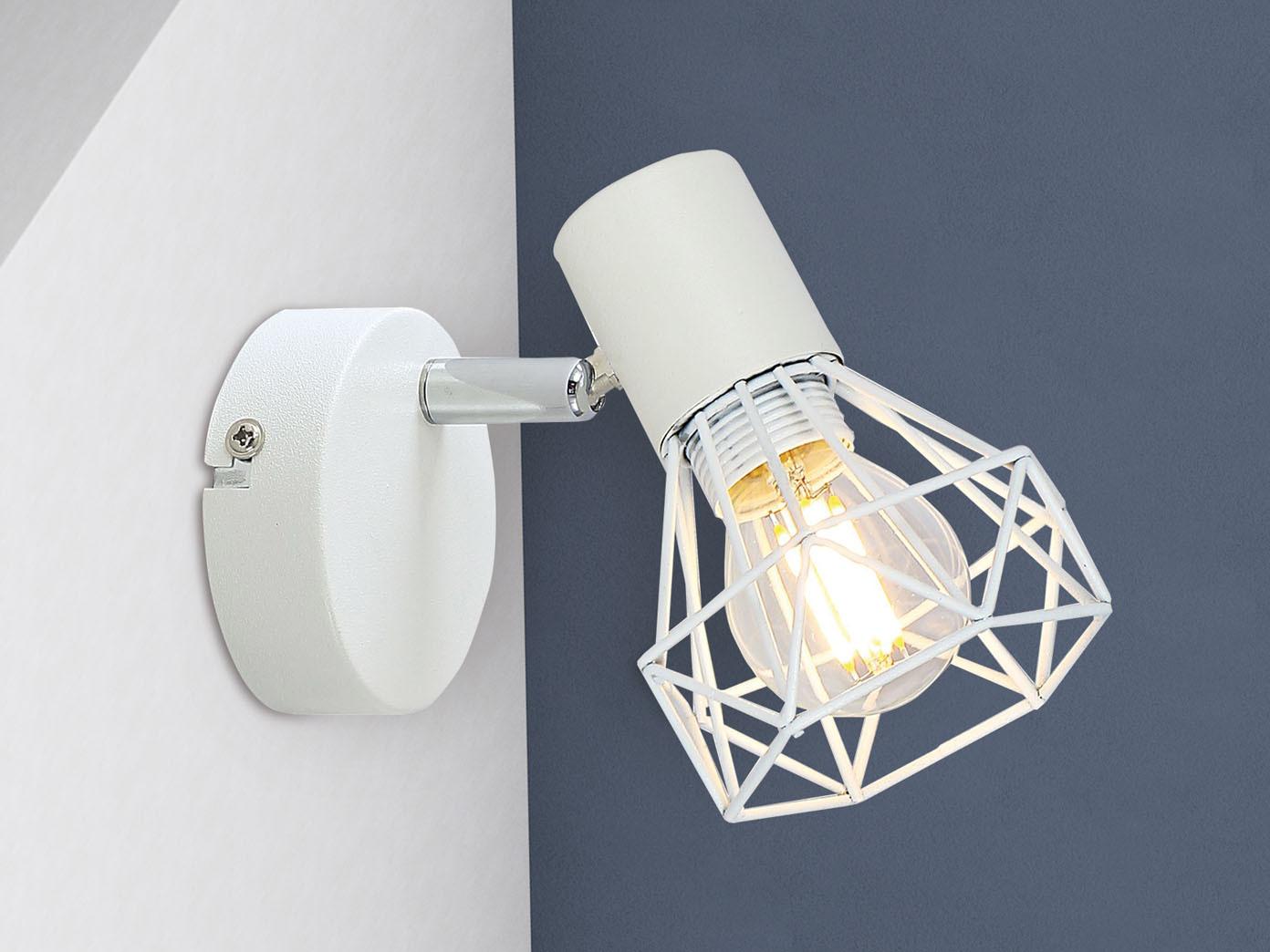 Gitterschirm Metall weiß Spot schwenkbar HONSEL LED Wandleuchte mit Schalter