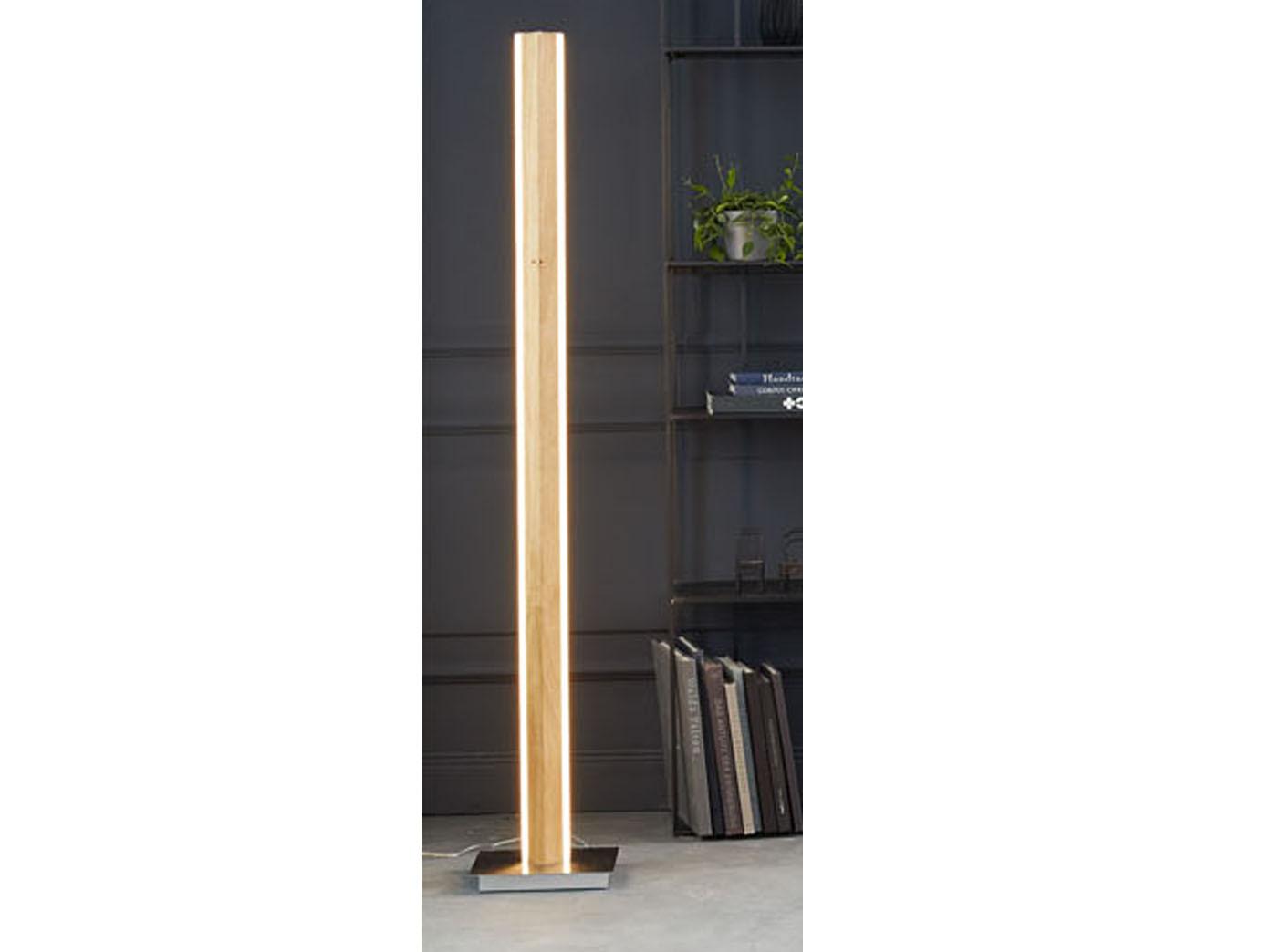 Led Stehleuchte Design Holz Eicheoptik Mit Dimmer Farbwechsel