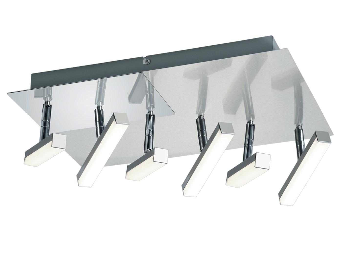 LED Deckenlampe Nickel matt 6 schwenkbar Spots 27W - Deckenleuchten  Wohnzimmer