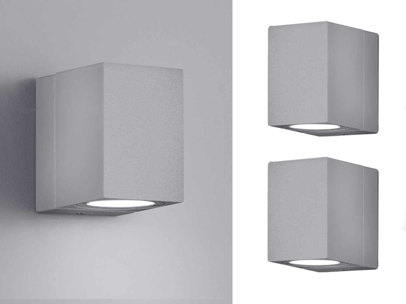 Led Außenwandleuchten Hell Grau Schwenkbar 2er Set Außenlampen Hausbeleuchtung
