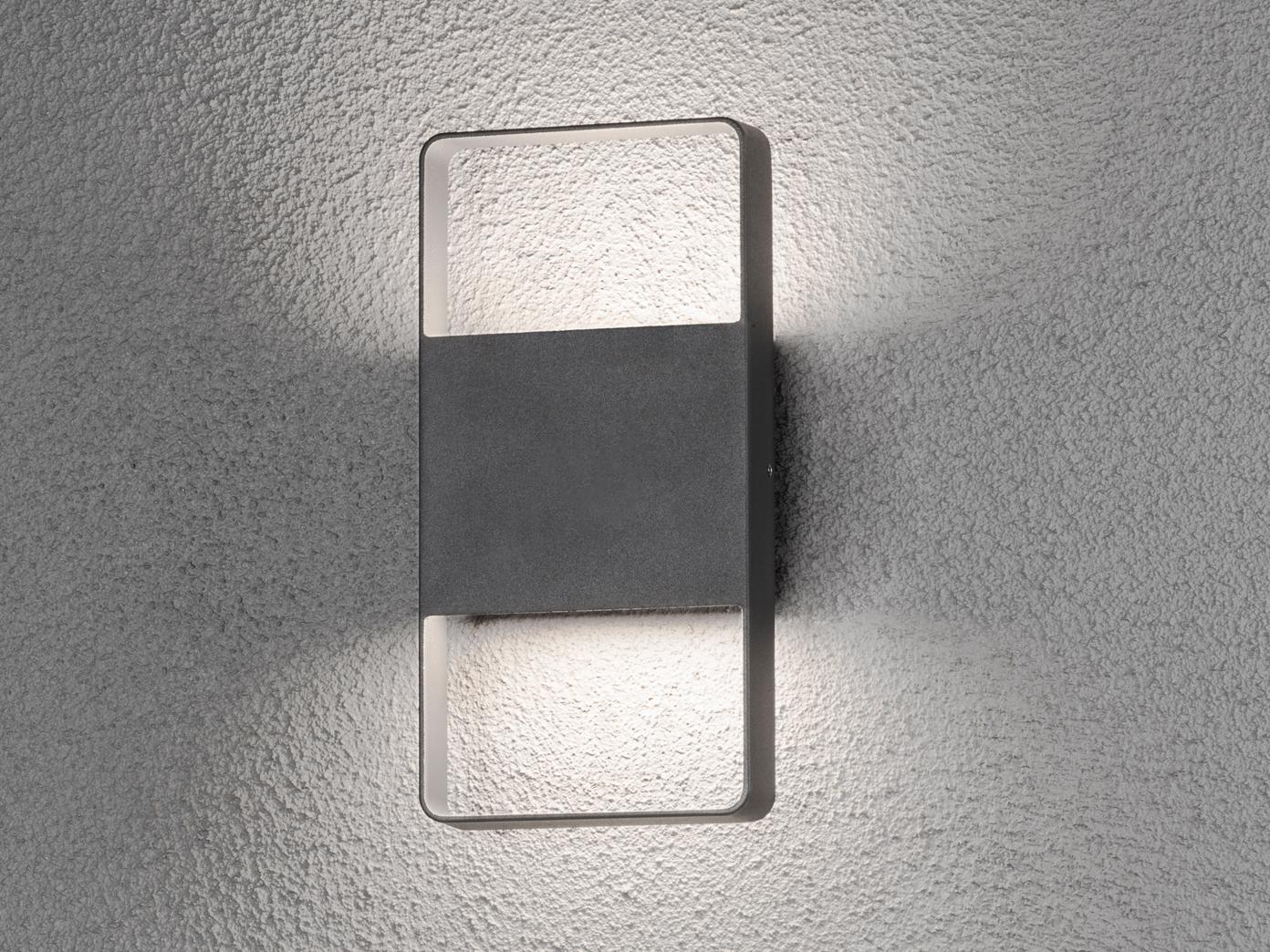 Beliebt Flache eckige LED Außenleuchte UP & Down Anthrazit 12W MJ35