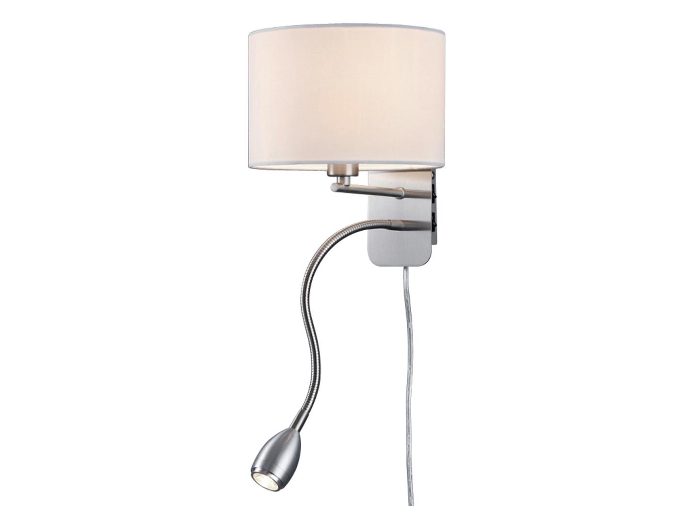 Wandleuchte mit Stoffschirm weiß und LED Leselampe fürs Bett - Stecker  Kabel - yatego.com