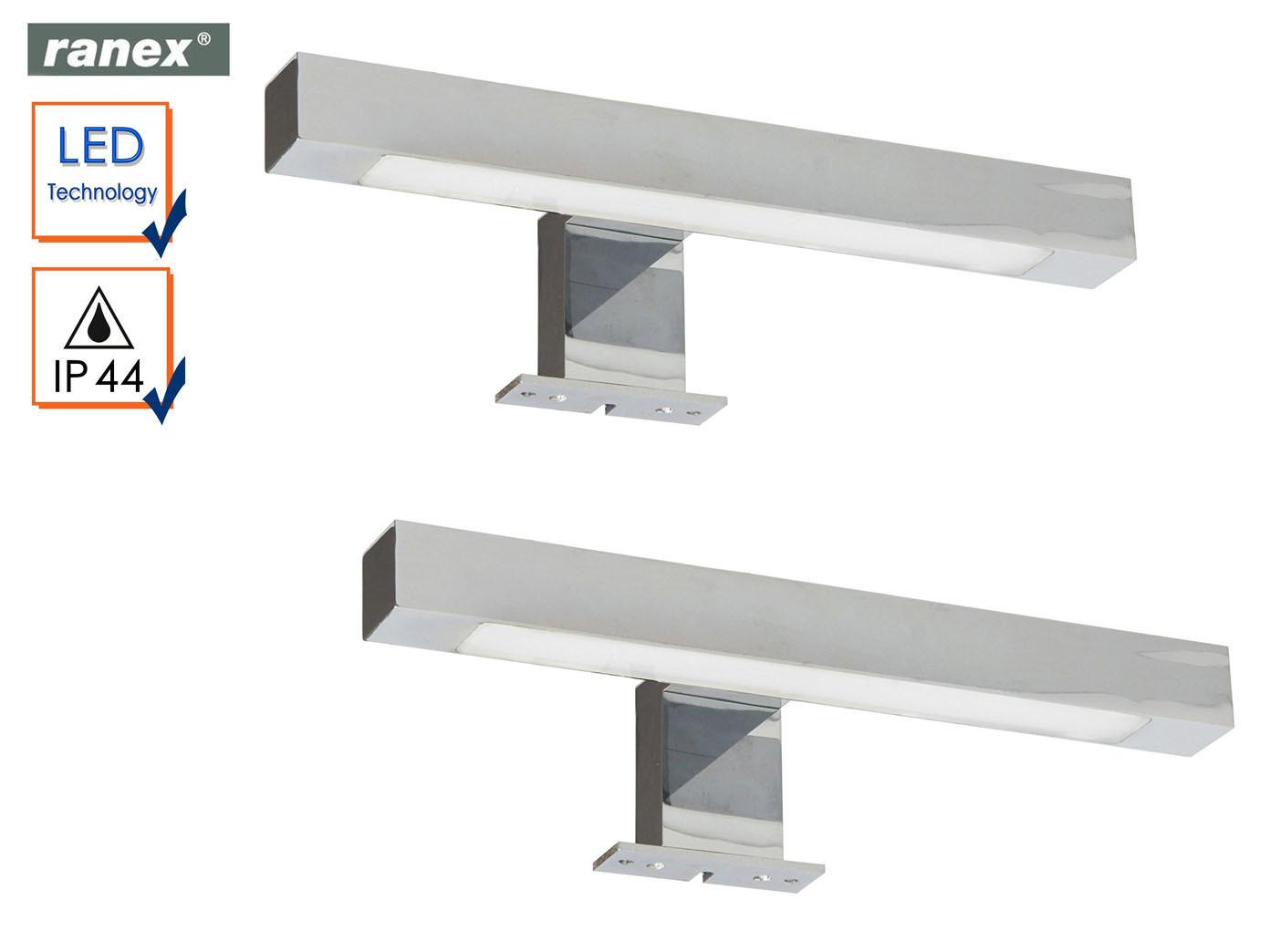 2er Set moderne, Chrom glänzende LED Spiegelleuchten fürs Badezimmer,  Badlampen