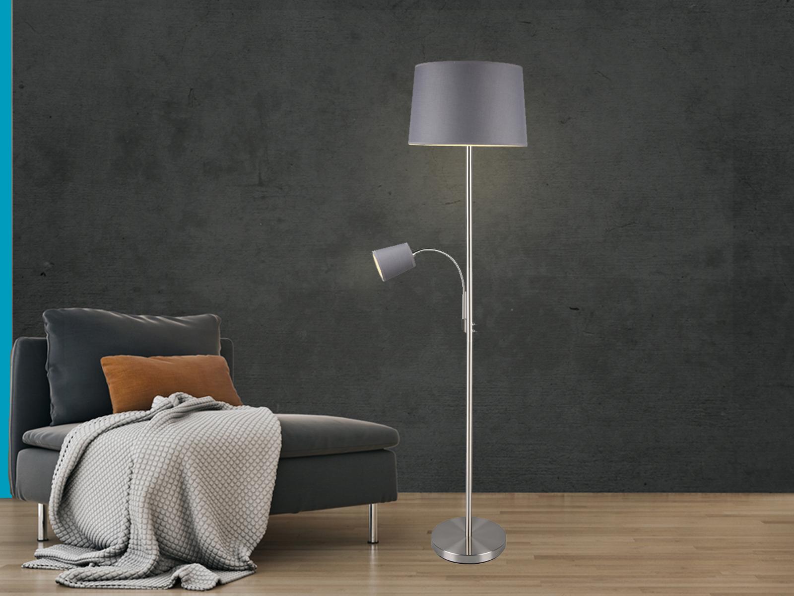 LED Stehleuchte & Leselampe Stoffschirm grau für Wohnzimmer Stehlampen zum  Lesen - yatego.com