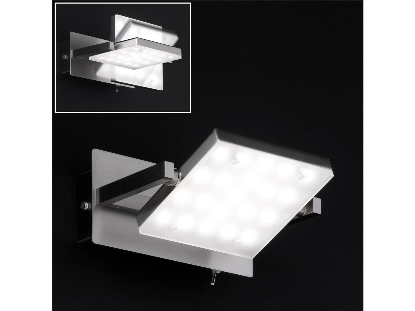LED Wandleuchte Wandlampe MILL Nickel matt Acryl weiß matt Breite 15 cm
