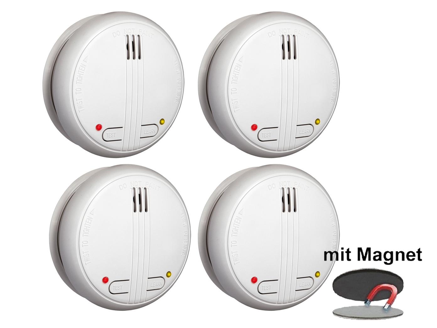 4er-Set Funkrauchmelder 40m Reichweite bis 20 Melder vernetzbar Feuermelder