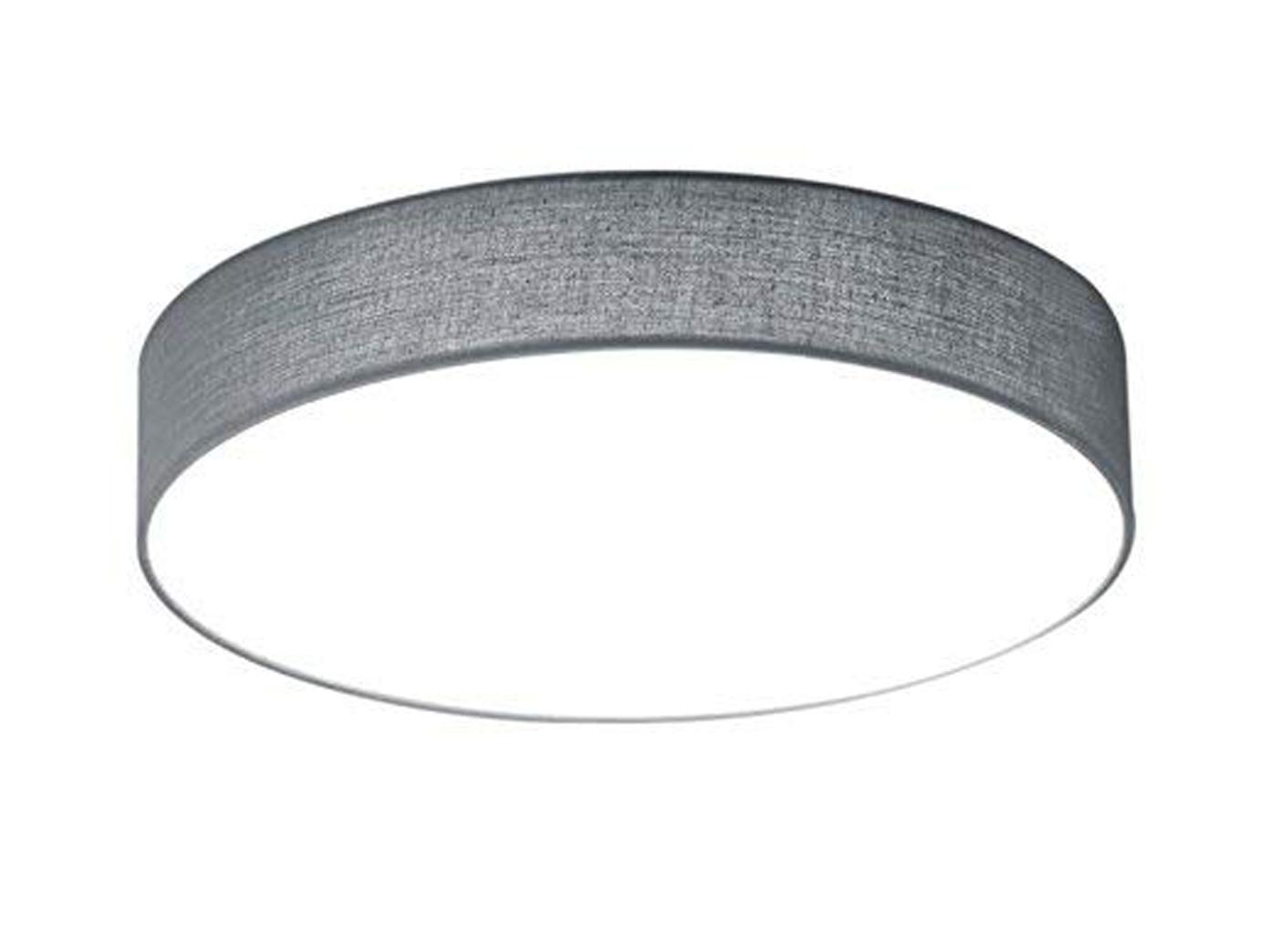 Flurlampe Wohnzimmerlampe Trio LED Deckenleuchte LUGANO 30cm Stoff silberfarben
