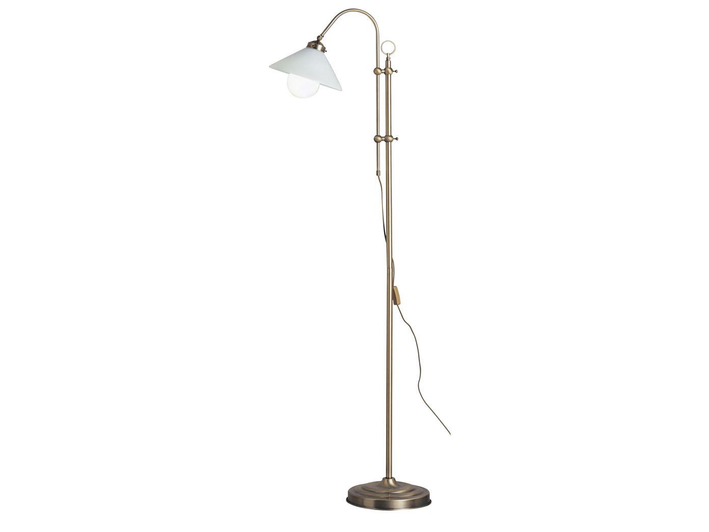Hohenverstellbare Stehlampe Altmessing Lampenschirm Glas