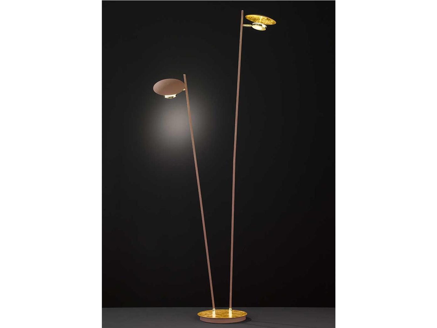 Dimmbare Led Stehleuchte Gold Braun Schwenkbar Hohe 150cm 9w