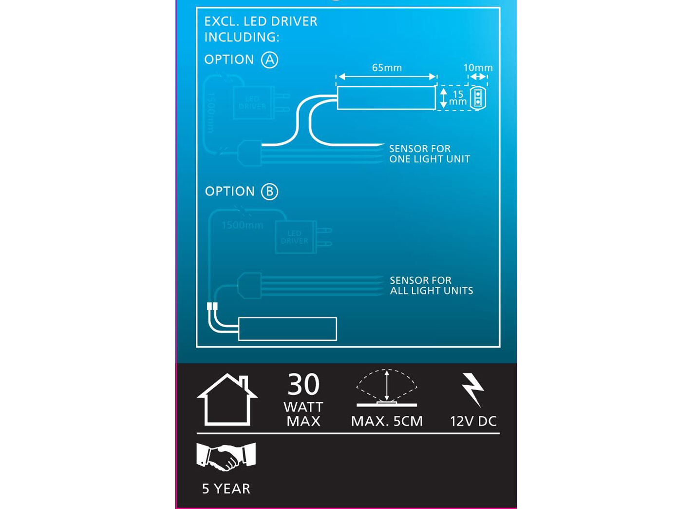 Zusatzsensor Widerstandssensor für Smartlight LED-Leuchten Möbeleinbauleuchten