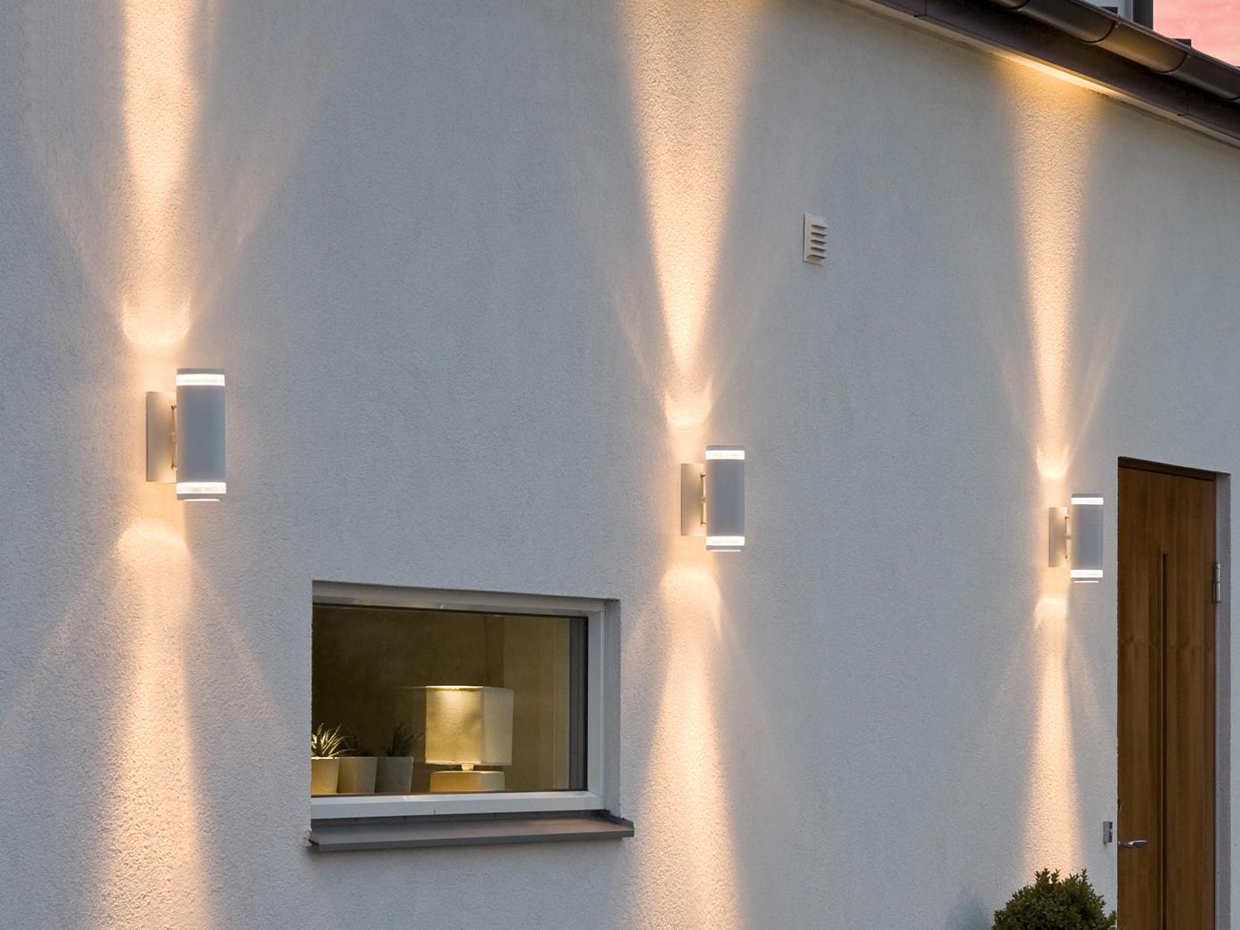 Aluminium Up-Down Wandleuchte weiß GU10 Höhe 23, 23, 23, 5 cm IP44 Fassadenbeleuchtung 92e94c