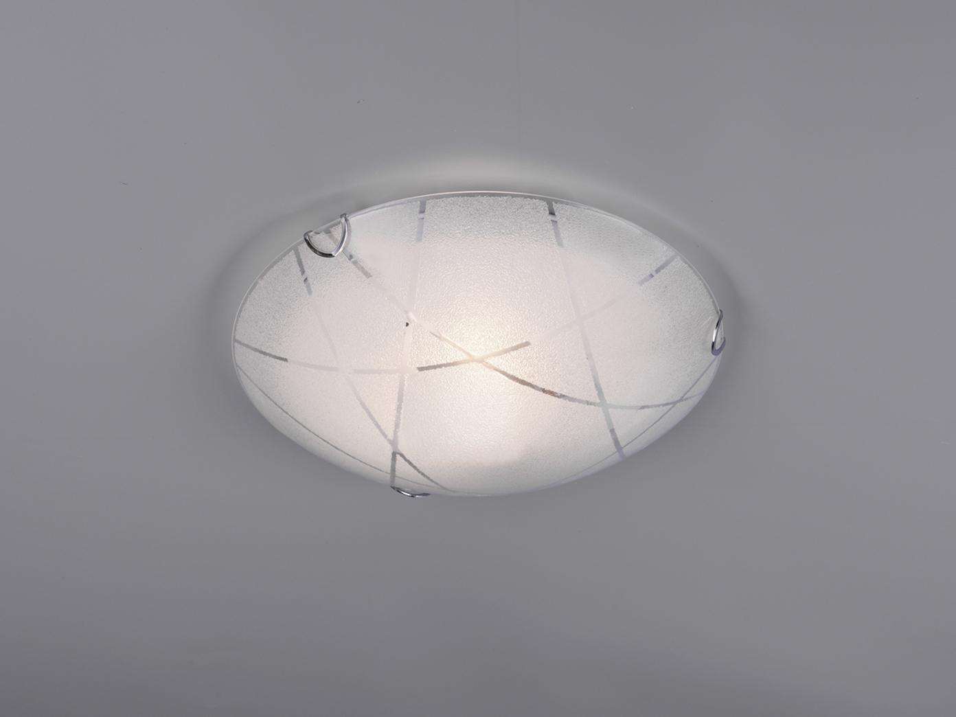 Coole Glas Deckenschale aus Chrom Schirm in weiß mit ausgefallener Glasdeko E27