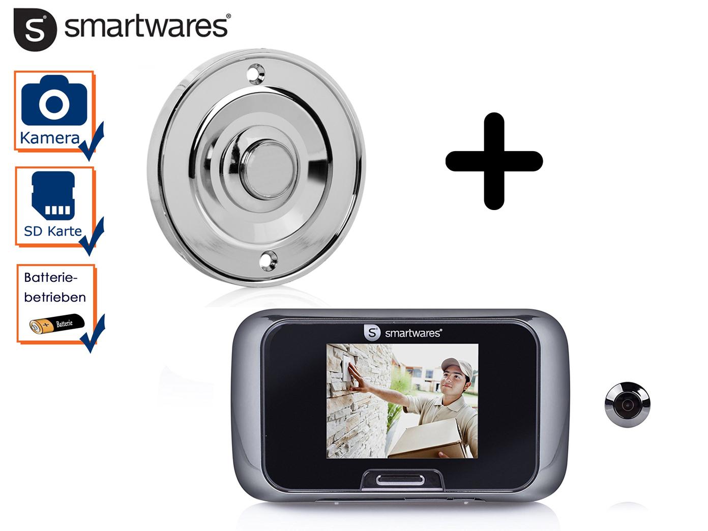 Set: Klingelplatte Chrom rund + Türspion mit Kamera, Klingel Einfamilienhaus