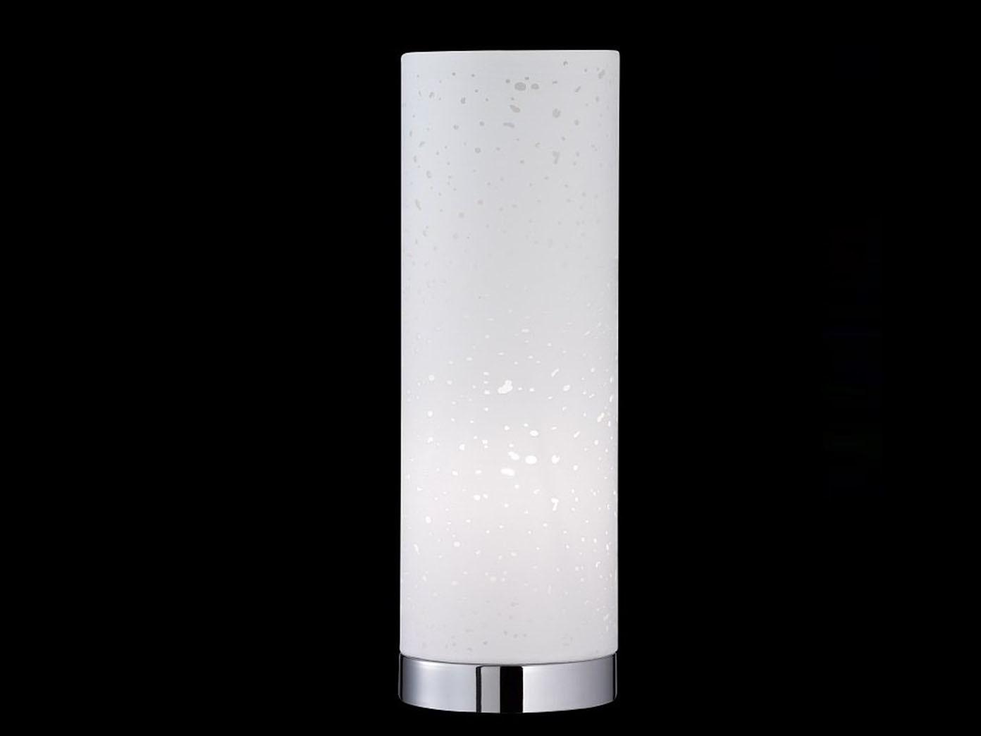 Nachttischlampe Design Kleine Tischlampe E14 Chrom mit Lampenschirm Stoff weiß