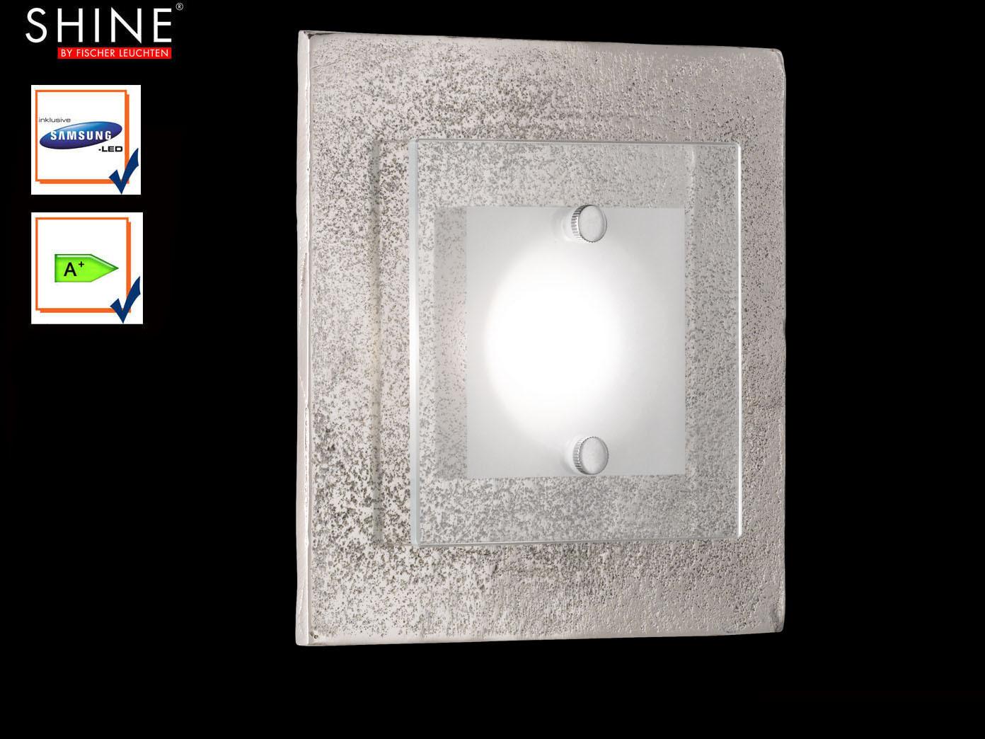 Fischer LED Wandleuchte SHINE-ALU Antik Wandlampe Schalter Glas weiß matt