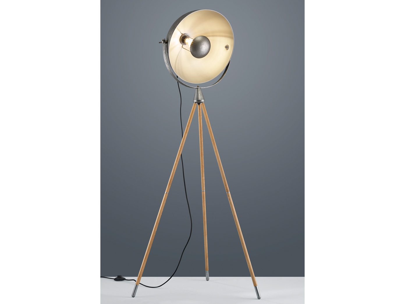 Grosse Retro Tripod Stehlampe Holz Industrial Style Studio