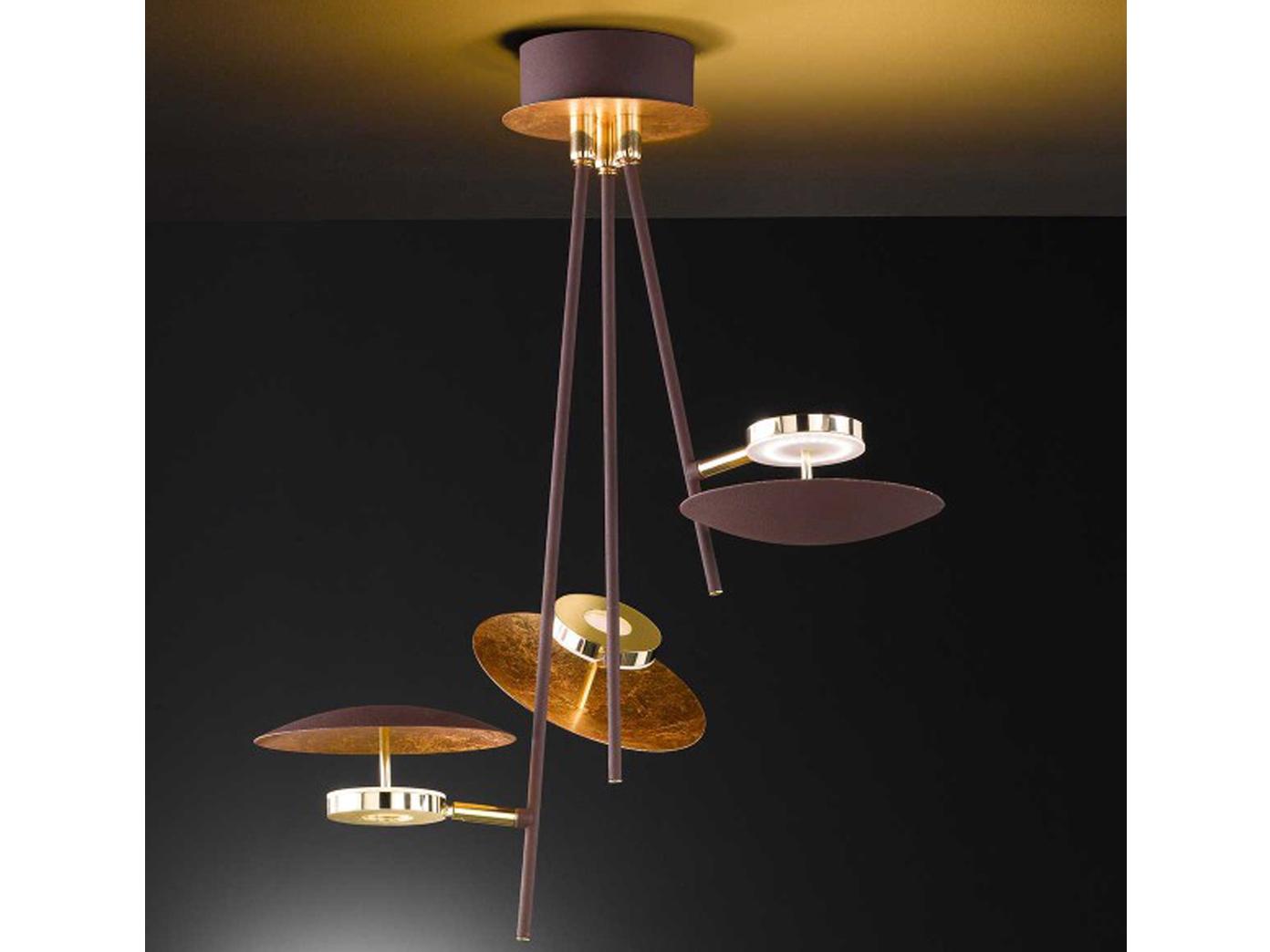 Moderne Lampen 13 : Ausgefallene led deckenlampe braun gold spots schwenkbar 13 5w