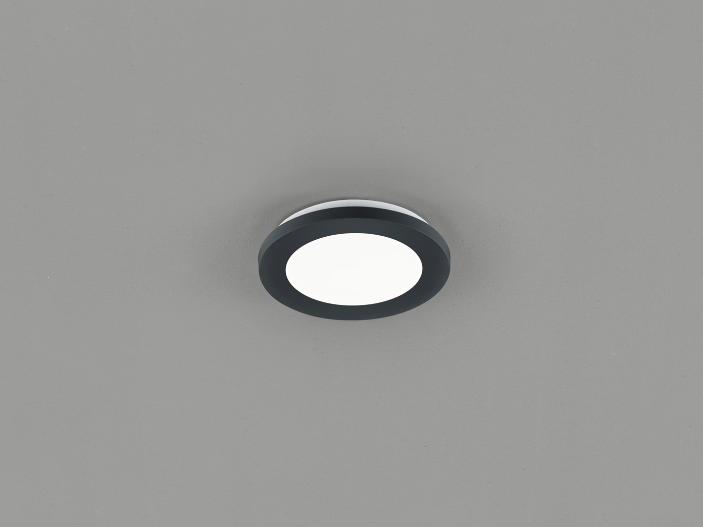 Kleine LED Deckenleuchte CAMILLUS flache Badezimmerlampe Rund Ø20cm schwarz  IP20