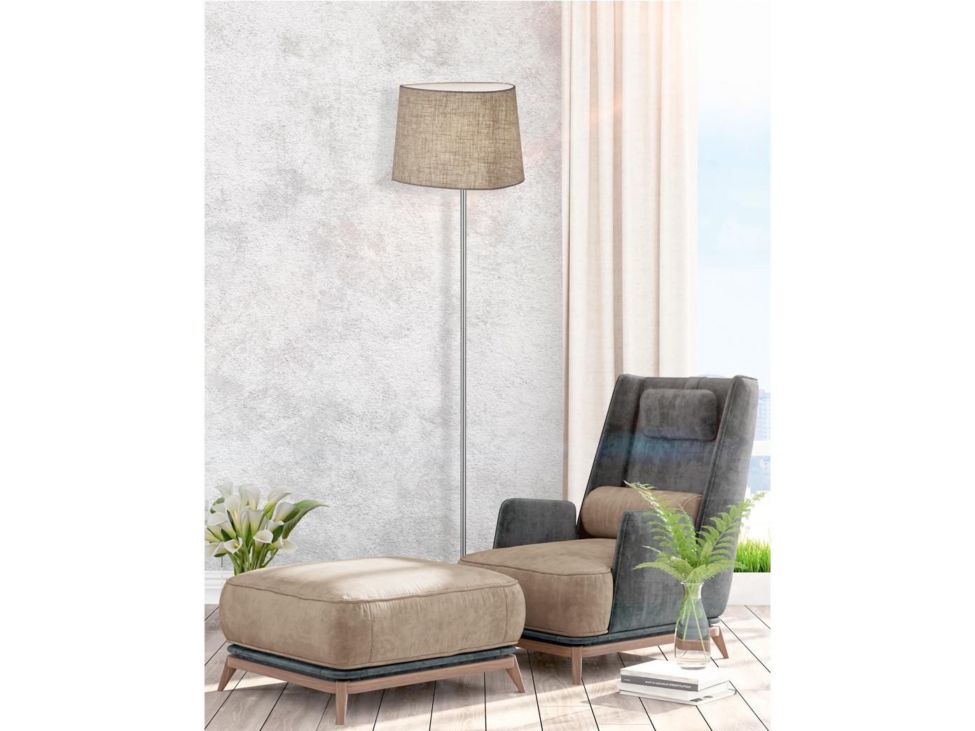 stehlampe mit stoff lampenschirm braun stehleuchte. Black Bedroom Furniture Sets. Home Design Ideas