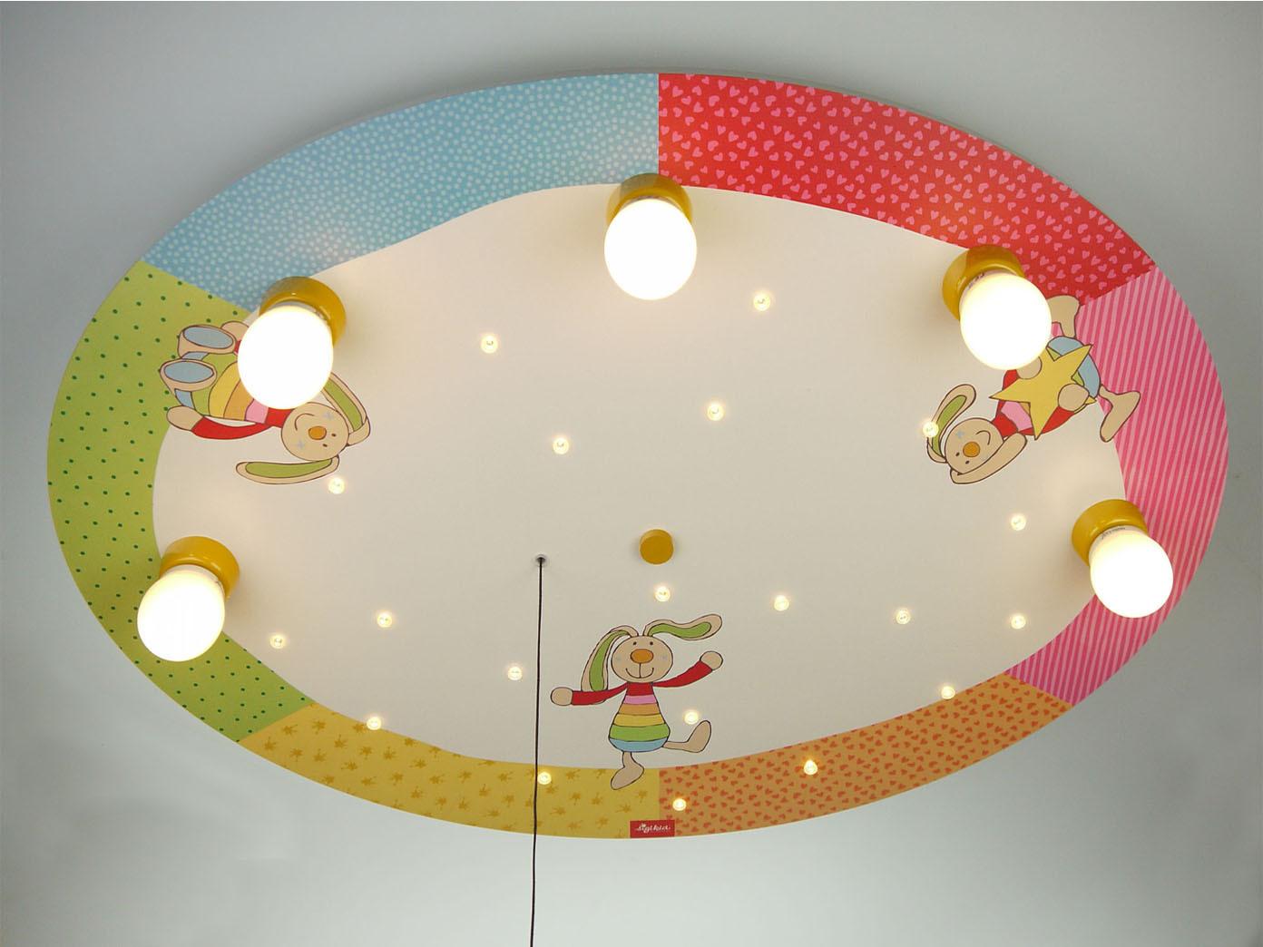 LED Kinder Deckenleuchte mit 5 LED Sternenhimmel Zugschalter für ...