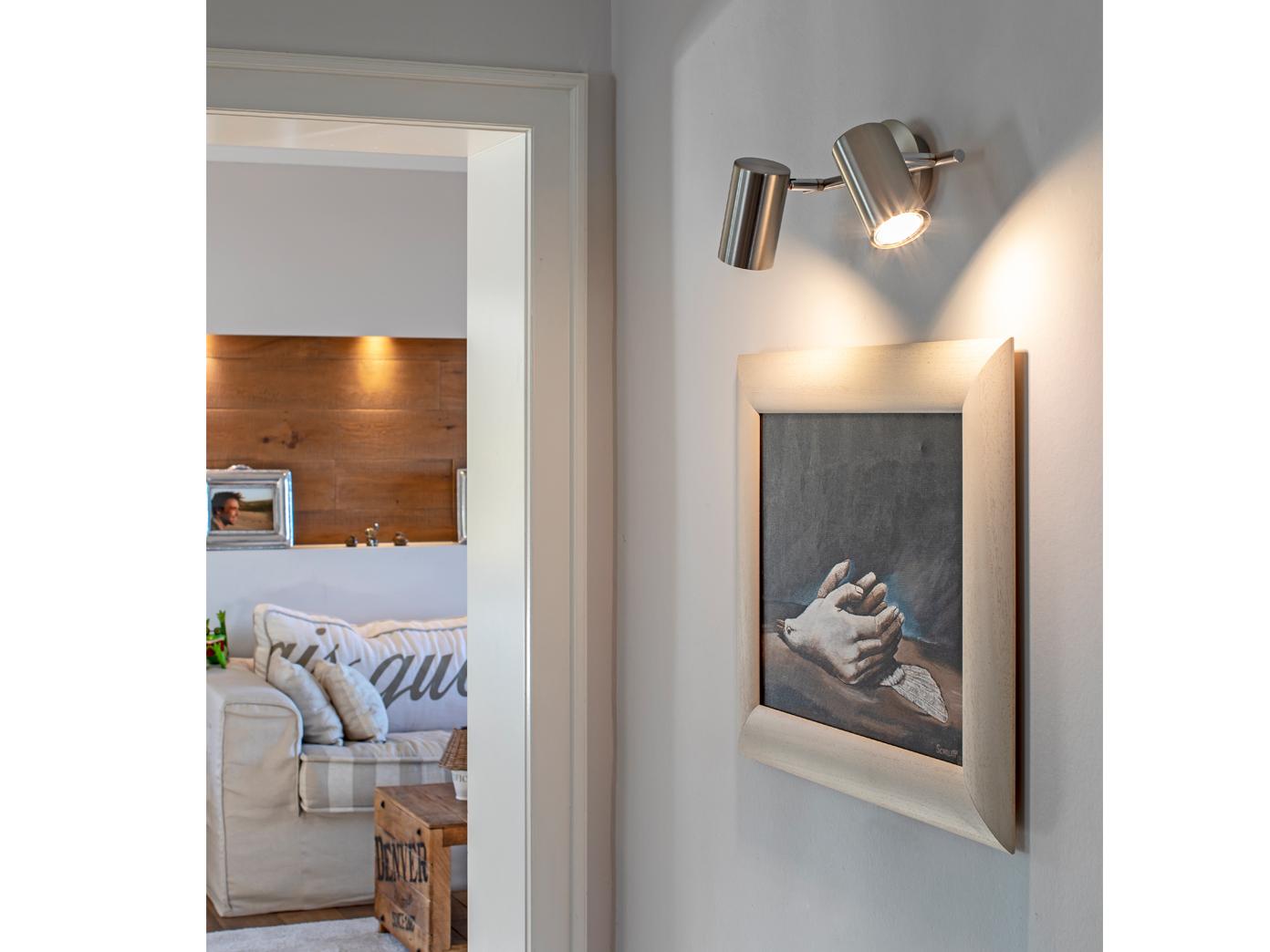 LED Wandstrahler Nickel matt Spot schwenkbar 6W GU10 - Wandleuchten  Schlafzimmer