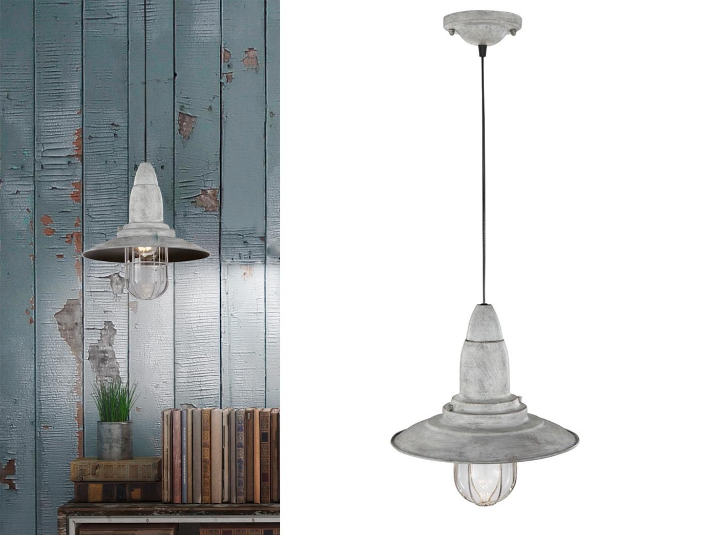 LED Hängelampe Kupfer antik Lampenschirm Glas 32cm Retro Pendelleuchte Vintage