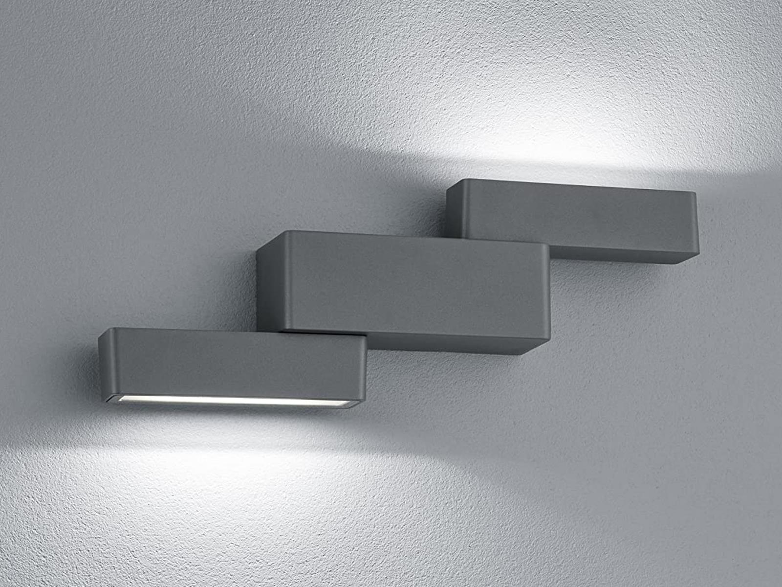 Schwenkbare LED Wandleuchte für für für innen & außen mit Up- & Downlight, Alu anthrazit aa6734
