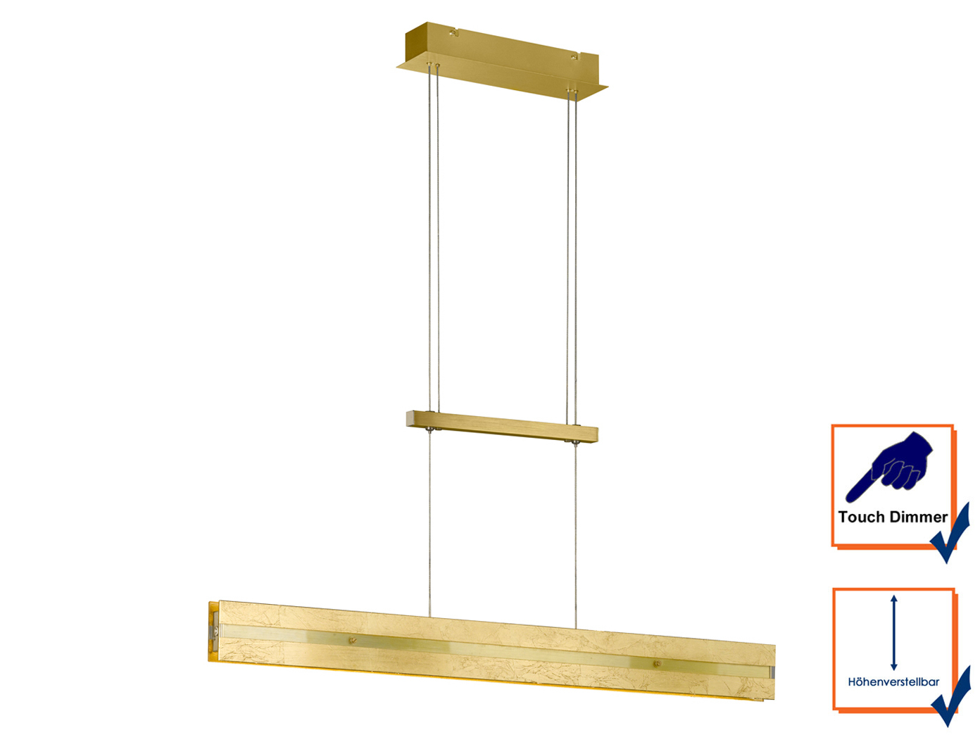 goldene led pendelleuchte dimmbar h henverstellbar 14 5w. Black Bedroom Furniture Sets. Home Design Ideas