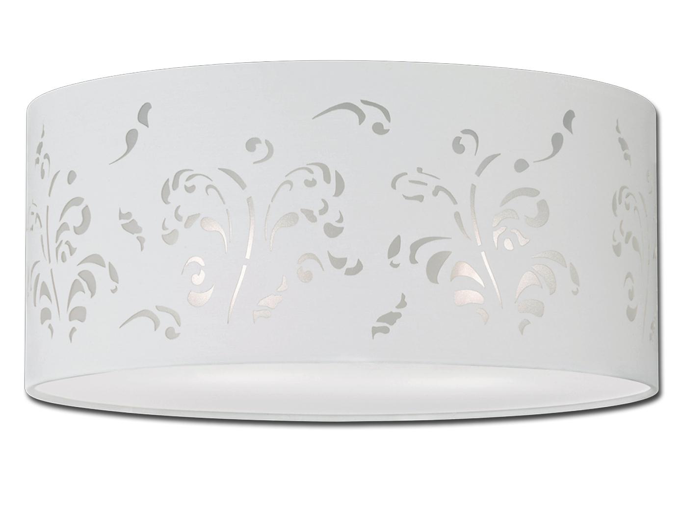 Deckenleuchte Ø 45cm Stoffschirm Weiß Mit Dekor Deckenleuchte Wohnzimmer  Lampe 1 ...